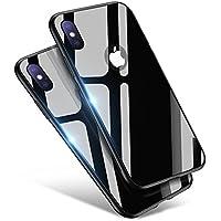 iPhone X ケース Aunote TPU 強化ガラスケース かわいい おしゃれ 耐衝撃 薄型 ハードケース ストラップホール付き アイフォンテン ケース(アイホンx ブラック)
