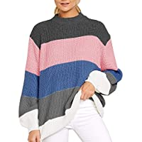 Imily Bela Womens Oversized Chunky Color Block Cable Knitted Crew Pullover Sweaters