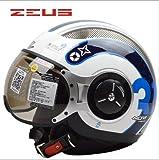 ZEUS 218Cバイクヘルメット ジェットタイプ オープンフェイスヘルメット期間限定、送料無料 男女兼用 メンズ レディース ハーフ パイロット バイクヘルメット シールド付き 安全規格【Lサイズ】ホワイト&ブルー