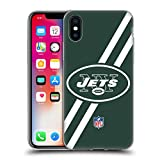 オフィシャル NFL ストライプ ニューヨーク・ジェッツ ロゴ ソフトジェルケース Apple iPhone X