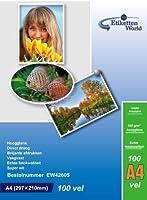 EtikettenWorld - フォト用紙、A4フォーマット、260グラム/平方メートル、防水、光沢、100枚