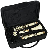 Merano WD401WT B Flat White/Silver Clarinet with Carrying Case Mouth Piece Screwdriver Reed and Cap [並行輸入品]