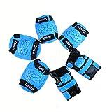 WinLine キッズプロテクター 膝/肘/手首 スポーツプロテクター 保護パッド 6点セット 3色 (ブルー)