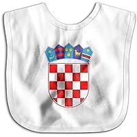 よだれかけ クロアチア国旗の紋章 ベビー ビブ スタイ 男の子 女の子 綿100% 柔らかい 出産のお祝いギフト Black
