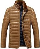 (ラクエスト) Laquest 取り外せる ファー 襟 シープスキン ダウン ジャケット メンズ レザー 本革 (XL,キャメル)