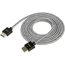 HDMIケーブル,CableCreation HDMI 2.0ケーブル ハイスピードHDMIケーブル 超薄型スリムHDMIケーブル 1.0m 3D/4K(60Hz)/オーディオリターン/イーサネット 【最新バージョン】 PS3、PS4、Xボックスなど対応 ケーブル直径:4.5mmコットンジャケット ブラック&ホワイト