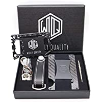 Carbon Fiber Wallet Cash Strap by Widely Quality - RFID Blocking - Complete Gift Set for Men Including Key Holder Organizer - Minimalist Card Holder with Smart Keychain - Slim Compact and Lightweight