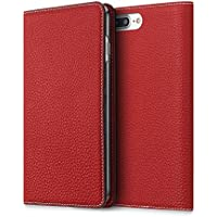iPhone 8Plus / 7Plus ケース BONAVENTURA ボナベンチュラ German leather diary case (レッド)