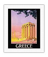 ギリシャ - ゼウス神殿 - アテネ、ギリシャ - ビンテージな世界旅行のポスター によって作成された ピエール・コマルモン c.1930s - キャンバスアート - 41cm x 51cm キャンバスアート(ロール)