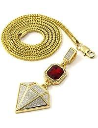 メンズゴールドメッキ赤いルビー&ダイヤモンドセットCZペンダントヒップホップ24