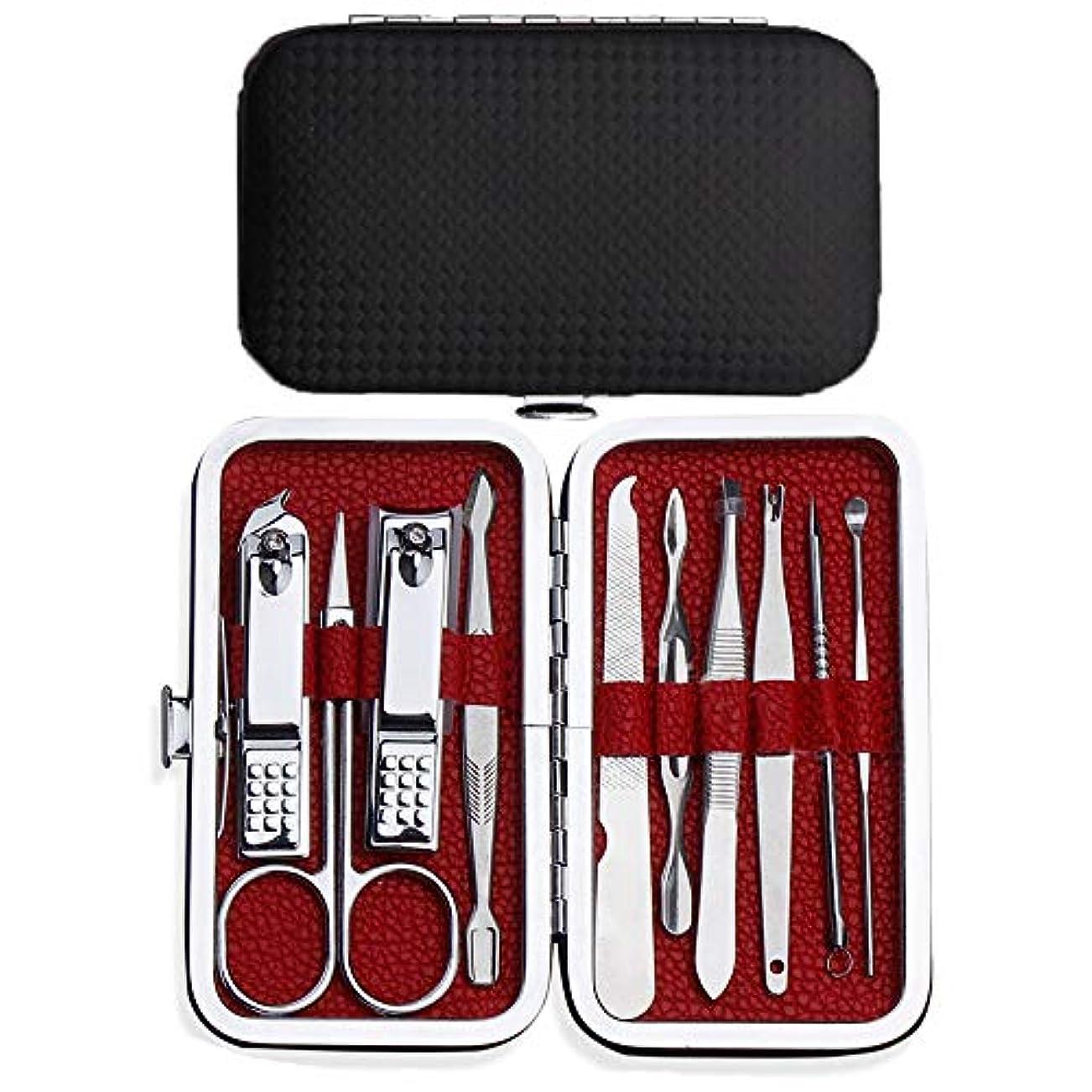 天健ネイル ケア 10点 セット 爪切り グルーミング キット 携帯便利 な 専用ケース (ブラウン)