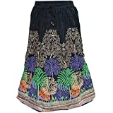 Bohemian Boho Skirt Peacock Printed Crinkled Black Gypsy Hippy Resort Wear Long Maxi Skirts M
