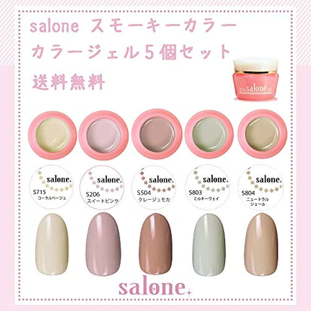 ほとんどない相談アジャ【送料無料 日本製】Salone スモーキー カラージェル5個セット アンニュイなスモーキーなカラー