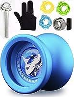 MAGICYOYO Responsive Unresponsive Yoyo T9 Shark with Glove+ Bonus Bearing Tool+3 Strings-Blue [並行輸入品]
