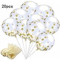 TKSTAR 金色紙吹雪入れ 風船 バルーン パーティーの装飾のためのゴールデンペーパーの紙吹雪ドットで20ピース、12インチパーティーバルーン結婚式の飾りと提案(ゴールド)20個入り (ラウンドセクション)