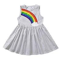 ベビー服 こども 女の子 ノースリーブ 水玉模様のプリント 虹 ドレス 可愛い 甘くて素敵 ファッション サマースカート