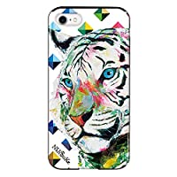 iPhone8 iPhoneケース (ハードケース) [ミラー付き/カード収納/耐衝撃] Nijisuke (ニジスケ) ホワイトタイガー CollaBorn (iPhone7対応)