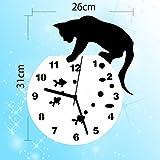 可愛い 猫 と 金魚の 壁 時計 ウォール クロック インテリア 静音動作 SN-SFUNLIFE001