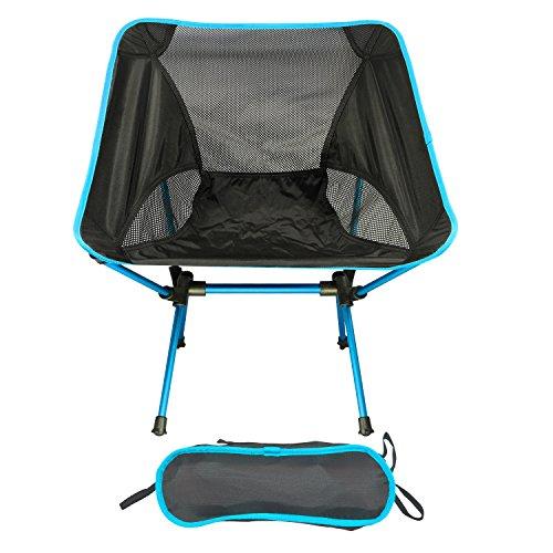 アウトドアチェア キャンプ用 折りたたみ椅子 コンパクト 超軽量 - 航空アルミ合金&オックスフォード 収納バッグ 背もたれ 耐荷重150kg (ブルー)