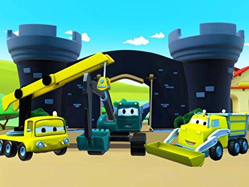 建設チーム: ダンプトラック、クレーン車とショベルカーがカーシティーにベビーのみんなとペイントレース&騎士の要塞を建てる