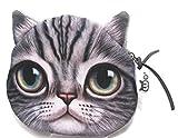 【560kick】 猫 リアル プリント 財布 小銭 入れ (サバトラ)