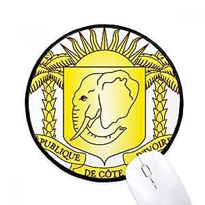 coateコートジボワールの国章の国 ラウンド・ノンスリップ・マウスパッド・ブラックtitched端ゲームオフィス贈り物