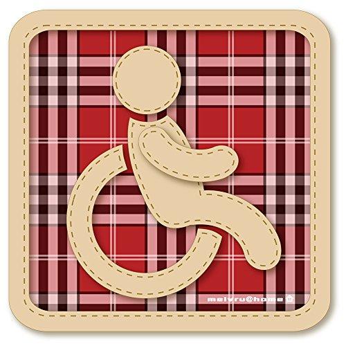 【マグネット】チェック柄 車椅子マーク マグネット ステッカ...