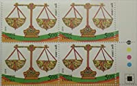 Astrological Signs Thematic , Libra Rs. 5 Indian Stamp (Block of 4 With Traffice light)