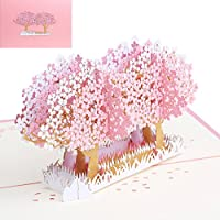 JAGETRADE 3Dポップアップ花グリーティングカードクリスマス誕生日新年招待状ピンク