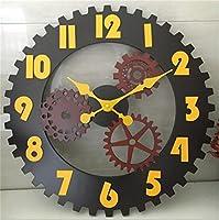 壁時計 レトロインダストリアルウィンドギアウォールクロッククリエイティブバーカフェアンティークウォールクロックウォールデコレーションクロッククロック
