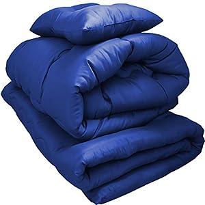 布団3点セット 増量タイプ ほこりの出にくい布団 洗える布団 シングル (ネイビー)