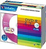 三菱化学メディア Verbatim DVD-R 4.7GB 1回記録用 1-16倍速 5mmケース 10枚パック 5色カラーミックス DHR47JM10V1