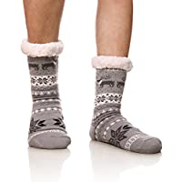 Men's Winter Thermal Fleece Lining Knit Slipper Socks Christmas Non Slip Socks