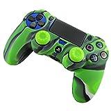PS4 コントローラー用シリコン スキン ケース 保護カバー x 1( 迷彩グリーン) 耐衝撃 高品質 + ティック カバー x 2