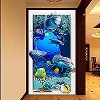 Wuyyii カスタム壁画3D水中世界通路壁紙リビングルームの寝室の壁紙ロビーレストランカスタムMural350X250Cm