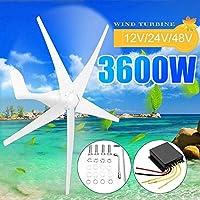 3600W風力タービン発電機、家庭やキャンプ、ホワイト用防水充電コントローラフィットと12月24日/ 48V 5風ブレードオプション,24v