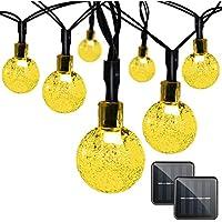 PowMaxイルミネーションライト ソーラー装飾ライト30LED 全長6.5m 夜間自動点灯 屋外 防水 耐熱 クリスマス 新年 結婚式 ボール型