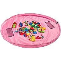 Dazers おもちゃ収納バッグ 子どもプレイマット お片付け簡単 特大マット 直径150cm (ピンク)