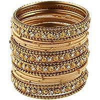 Efulgenz Fashion Jewellery Indian Bollywood Gold Plated Crystal Beaded Silk Thread Bracelet Bangle Set