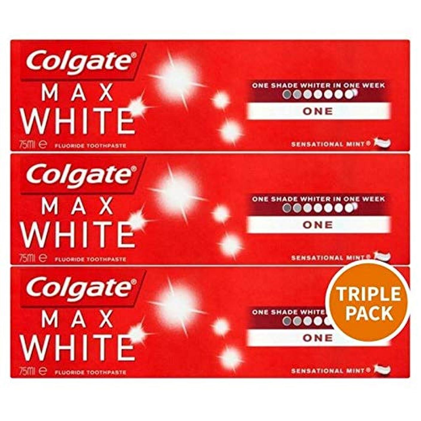 コショウ寛容不振[Colgate ] トリプルパック歯磨き粉3×75ミリリットルをホワイトニングコルゲートマックスホワイト1 - Colgate Max White One Whitening Triple Pack Toothpaste...