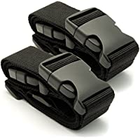 CampTeck U6745 Small Travel Luggage Straps Short Adjustable Connect Suitcase Belt Add On Attachment Black, 1 Pair