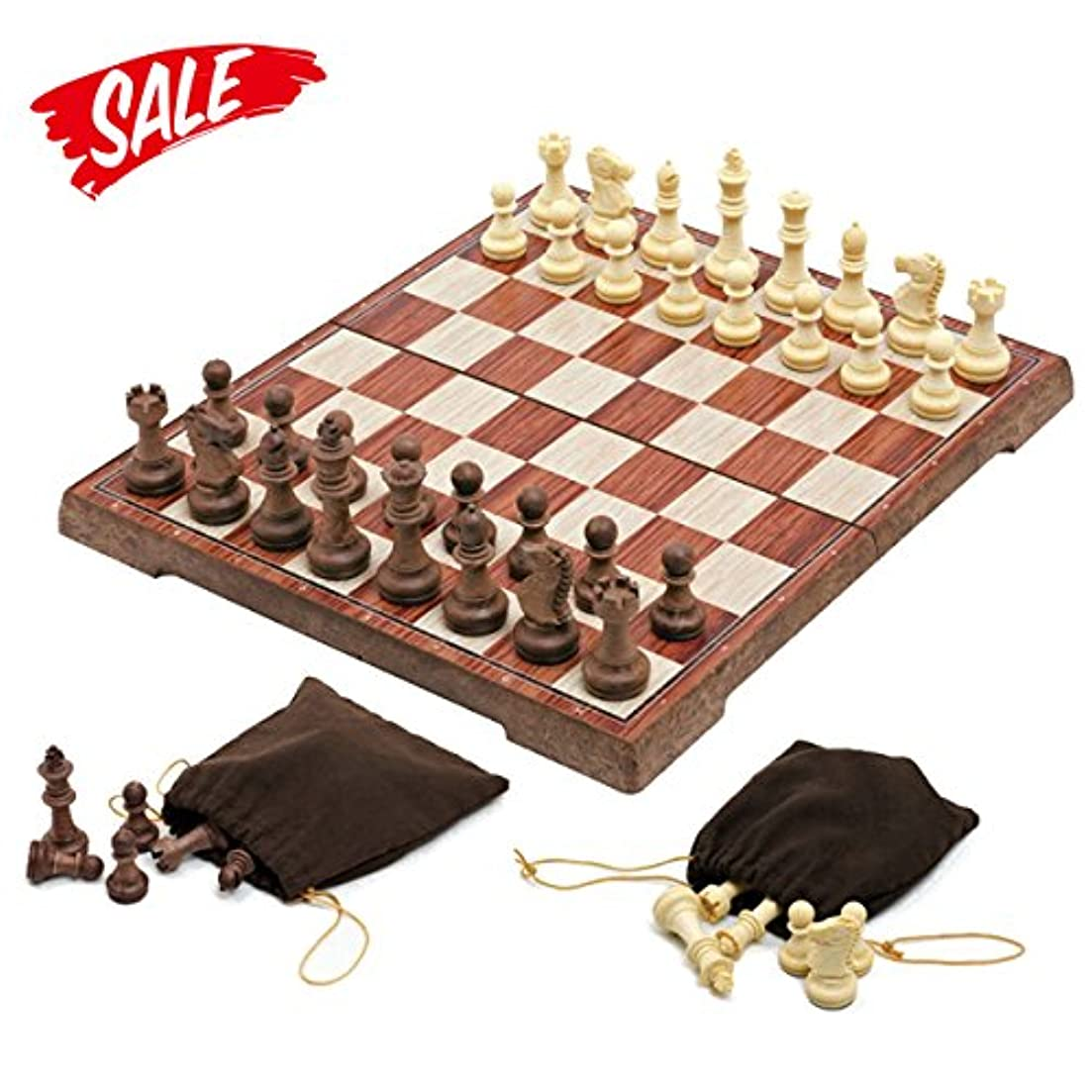 Chess Set -HoveBeaty Portable Classic Folding Travel Magnetic woody Chess Set, 11.02 x 25cm x 2cm