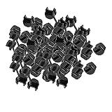 uxcell ストレインレリーフブッシュナイロン ブラック ラウンドケーブル フラットケーブルグロメット 50個入り