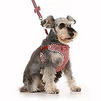 nikka(日華)ハーネス リード セット 犬 リボン 千鳥格子 胸あて式 ソフト レッド 5号 犬用ハーネス