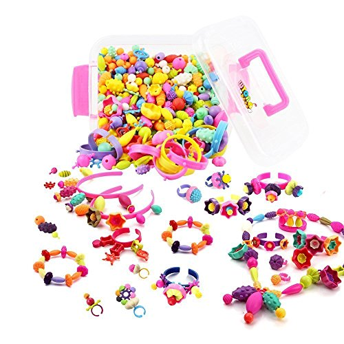 WTOR toy beads Accessories Kit DIY handmade materials educational toys making the girl children's birthday gifts (500 PCS storage case included)