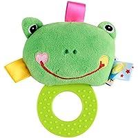 Dalinoベイビーズおもちゃベビーラウンドかわいい動物ゴムリングRattles Hand Toy ( Frog )