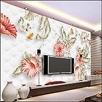 Weaeo カスタム壁紙赤ロマンチックハイビスカスフラワーバタフライソフトバッグ大型フレスコ不織布3Dテレビの背景-400X280Cm