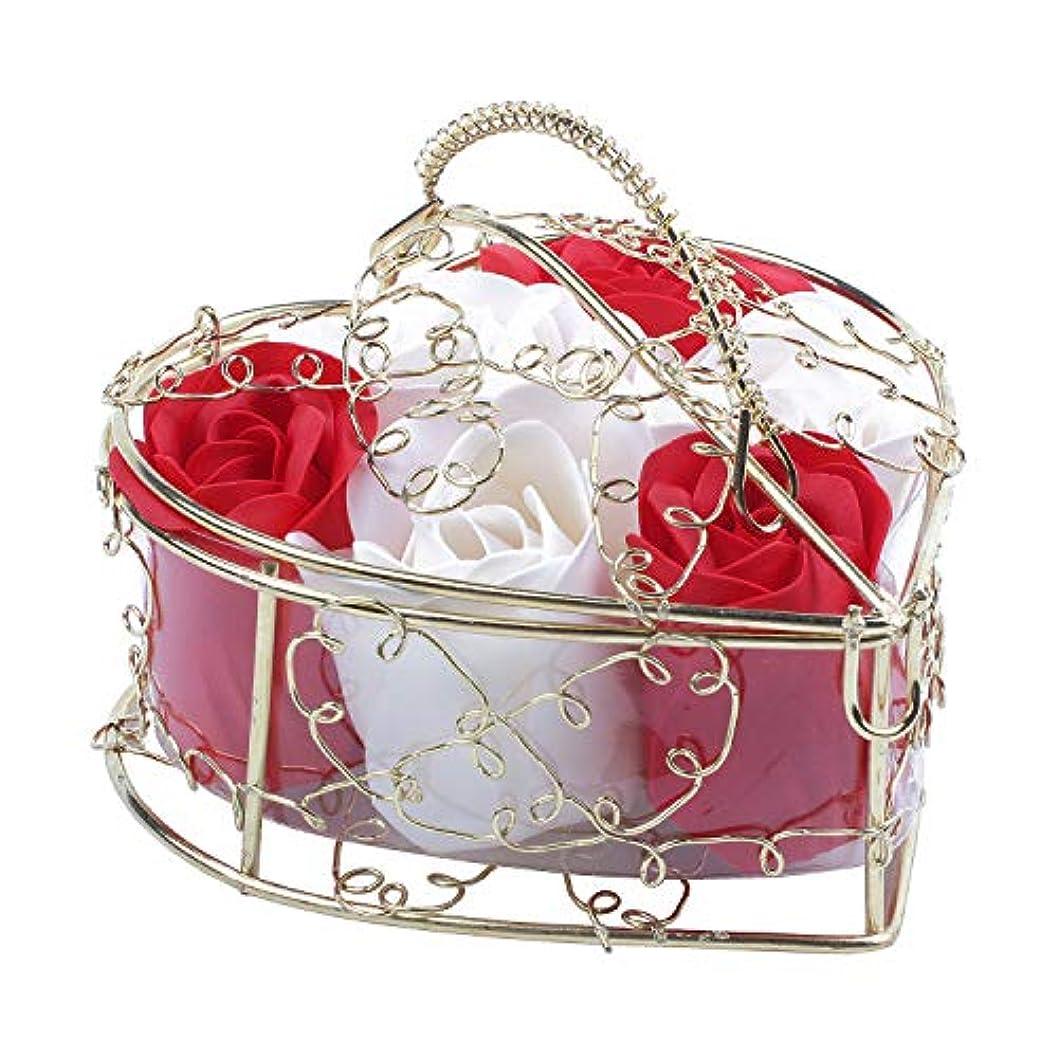 バナー粘液祝福SODIAL 6個の香り付きローズフラワー 花びらバス ボディソープ ウェディングパーティーギフト ホームDIYデコレーション(レッド&ホワイト)