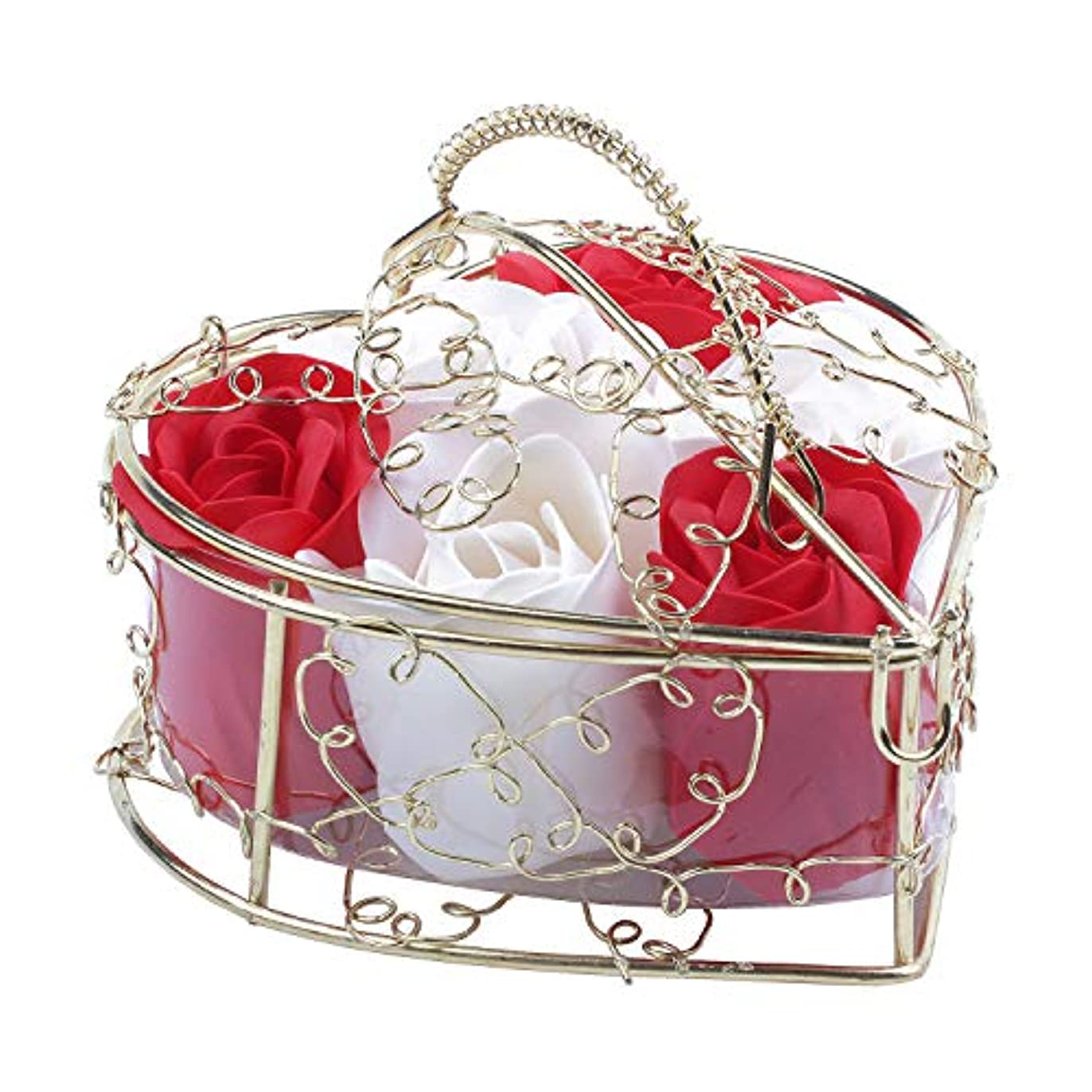 外国人ホース音SODIAL 6個の香り付きローズフラワー 花びらバス ボディソープ ウェディングパーティーギフト ホームDIYデコレーション(レッド&ホワイト)