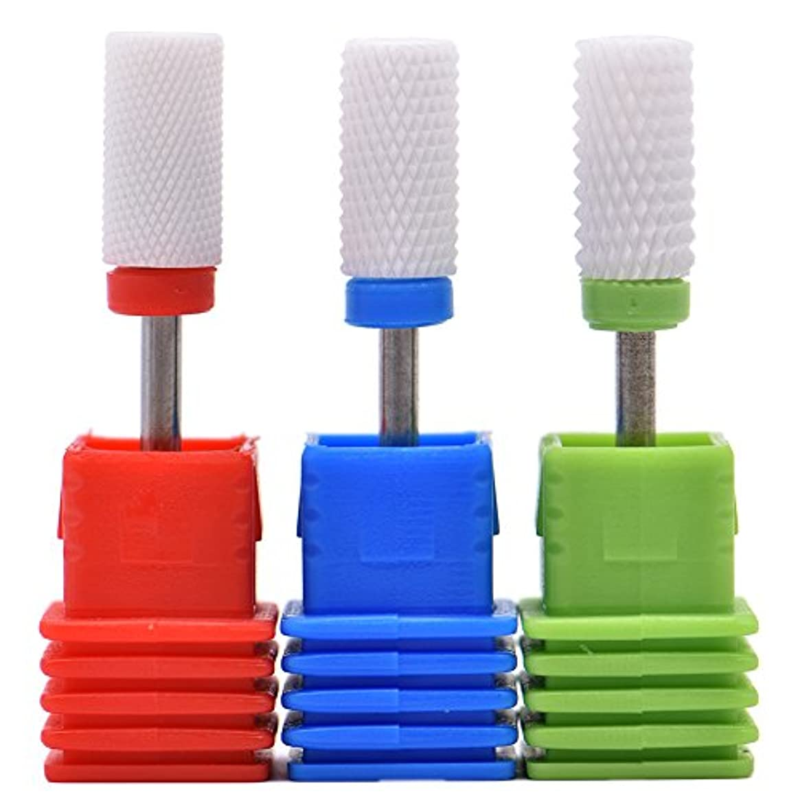 落胆した線形こんにちはOral Dentistry ネイルアート ドリルビット 研削ヘッド 研磨ヘッド ネイル グラインド ヘッド 爪 磨き 研磨 研削 セラミック 全3色 (レッドF(微研削)+グリーンC(粗研削)+ブルーM(中仕上げ))
